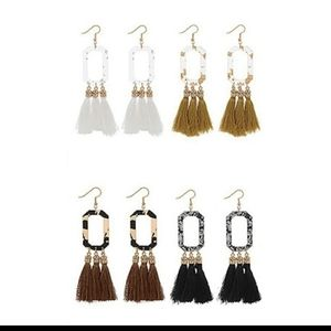 Your choice of 1 pair rectangle tasseled earrings